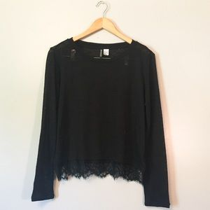 H&M long sleeve lace top medium black